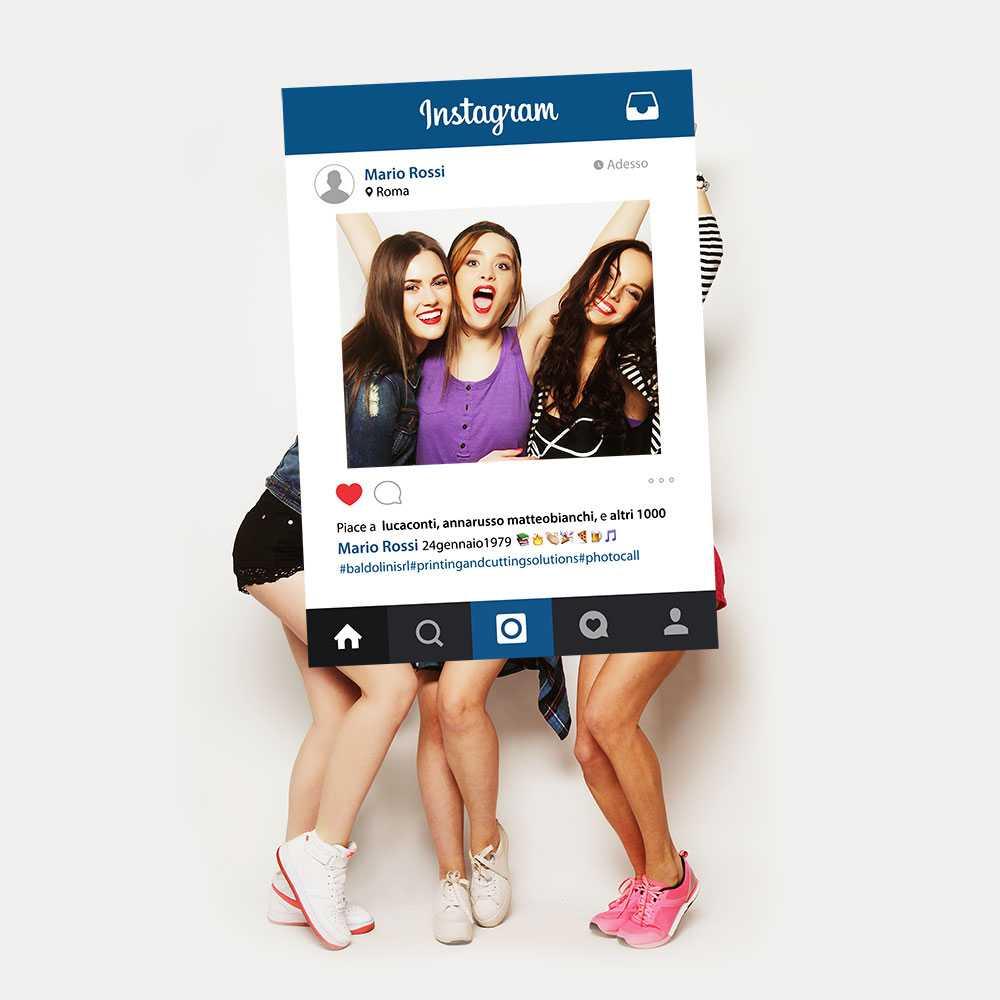 foto di ragazze in festa con cornice instagram personalizzata