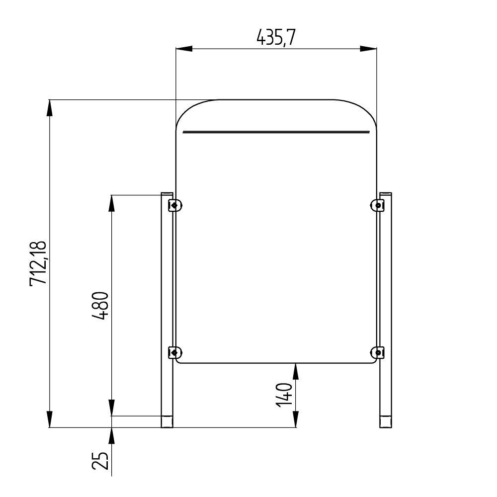 barriera protettiva lift 50x50 aperta disegno fronte con quote