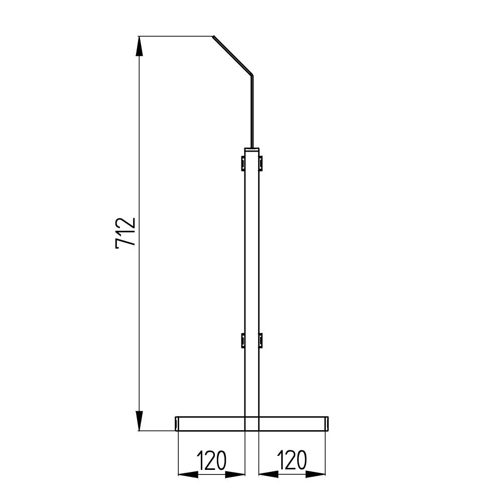 barriera protettiva lift 50x50 aperta disegno lato con quote