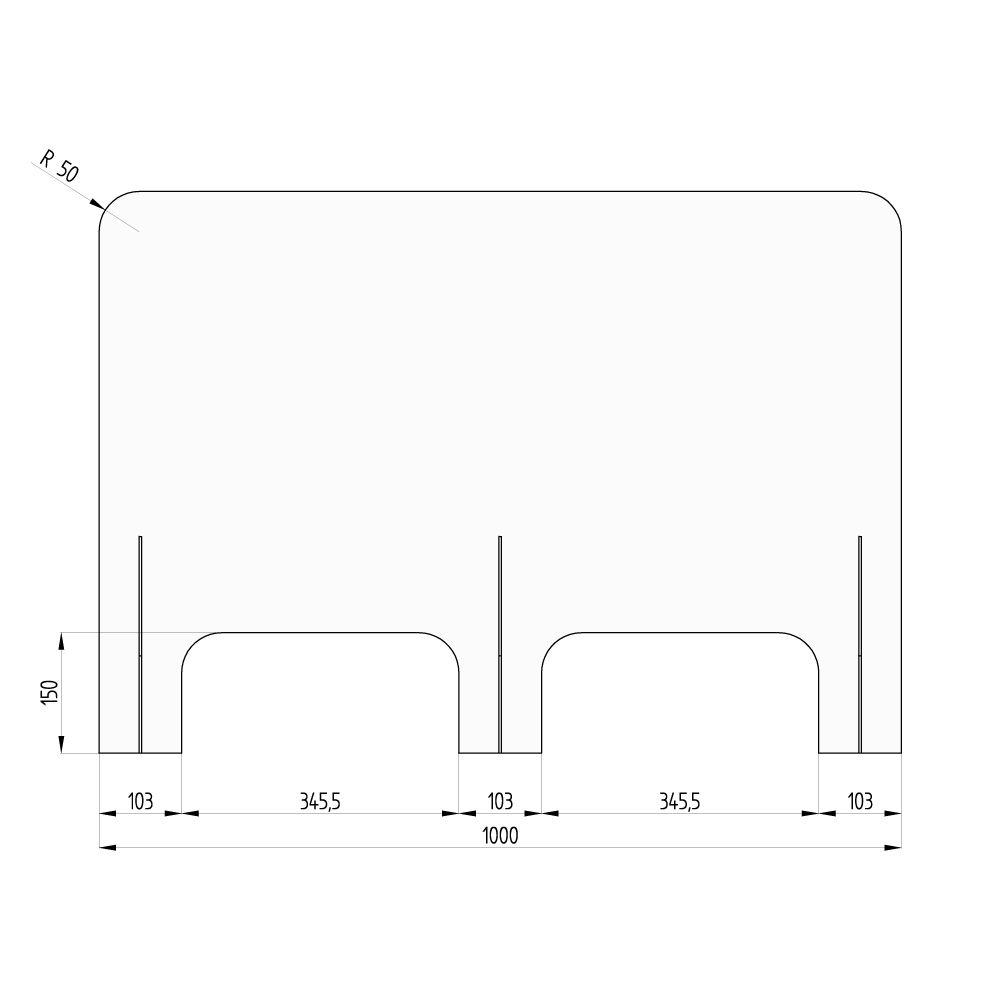 barriera protettiva wally 100x70 dritta disegno fronte con quote