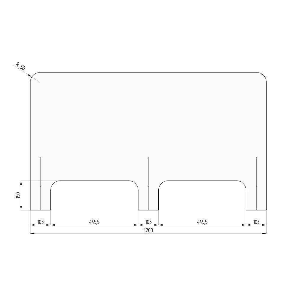 barriera protettiva wally 120x70 dritta disegno fronte con quote