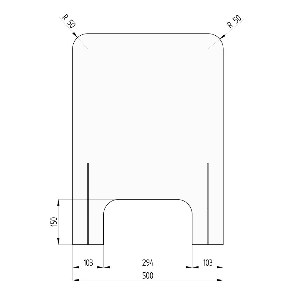 barriera protettiva wally 50x70 dritta disegno fronte con quote